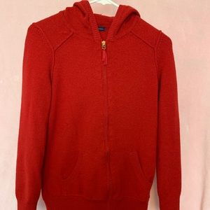 Red zip up sweater